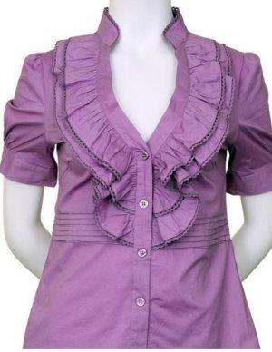 XL Size Lilac Purple Ruffle Blouse for Women