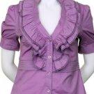 Large Size Beautiful Lilac Purple Ruffle Blouse for Women