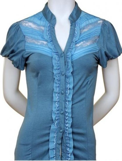 Medium Size Blue Lace and Ruffle Sleeve Shirt for Women