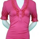 Small Size Trendy Pink Ruffle Top with Sleeves for Junior Women