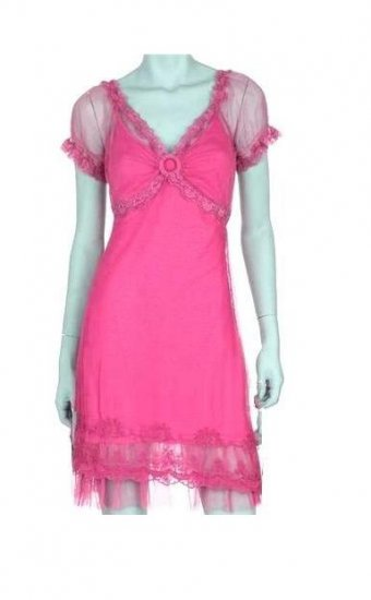 Large Size Trendy Pink Lace Dress