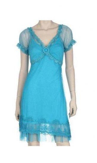 Medium Size Ladies Trendy Turquoise Blue Summer Lace Dress