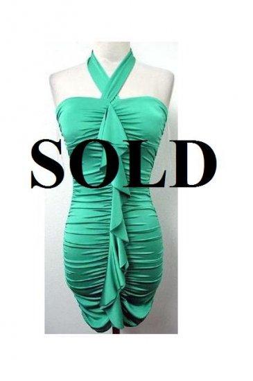 Large Size Sea Green Halter Ruffle  Dress