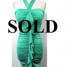 Small Size Sea Green Halter Ruffle  Dress