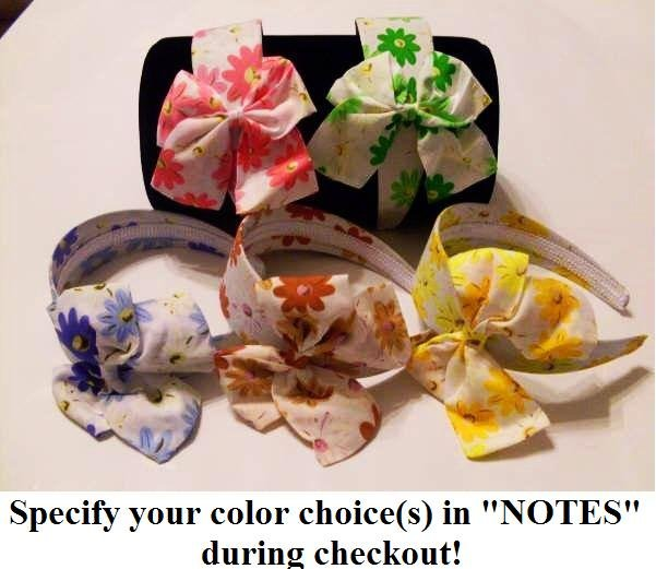 Flower print with bow Headband, specify your color(s) during checkout