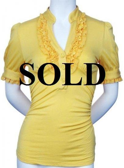 Large Size Trendy Yellow Ruffle Shirt with Sleeves