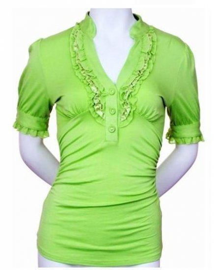 Small Size Lime Green Ruffle Shirt For Junior Women