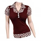 Medium Size Women's Chocolate Brown Collar Blouse