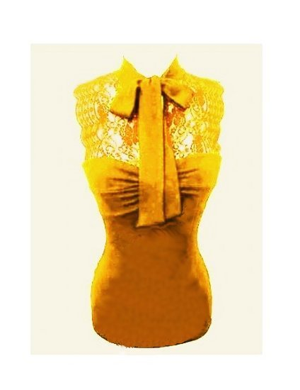 Medium Size Juniors Sexy Vintage Yellow Lace Tank Top