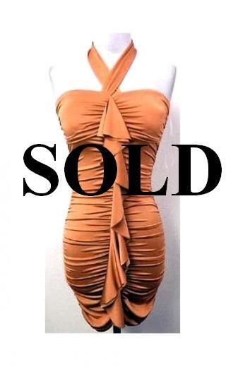 Medium Size Trendy Orange Halter Ruffle Dress