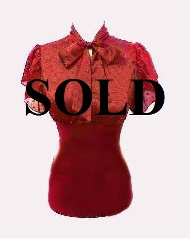 Large Size Deep Red Tie Front Sleeved Shirt for Women