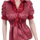 Large Size Women's Burgandy Red Blouse with mini white Polka Dots