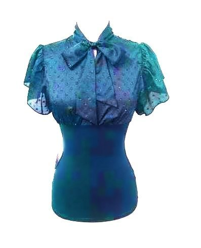 Large Size Teal Blue Tie Front Top with Sleeves for Ladies