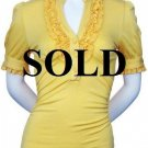 XLarge Size Yellow Ruffle Shirt with sleeves for Women XL