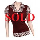 SOLD in Large Size! Women's Dressy Brown Top with Print work