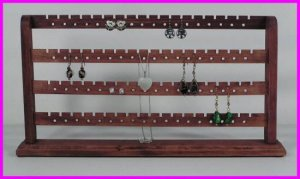 ** Merlot Stained Solid Wood Earring 148 Pc Jewelry Earring Rack Display NEW **