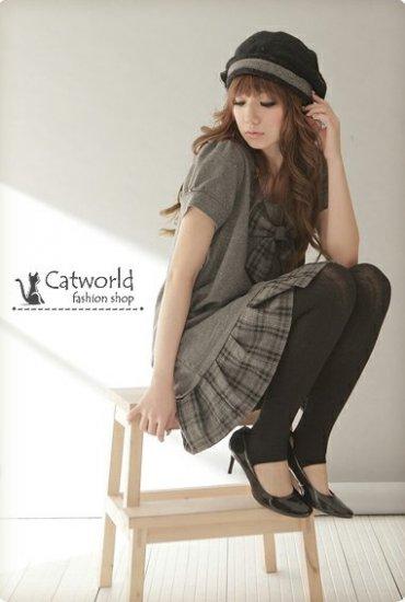 [W0004]Grey Ribbon Bow Gorgeous Tunic Dress  ����两件���--��