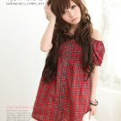 [W0010]Gorgeous Red Checked Blouse 最新款一字领露肩公主袖格子娃娃洋装—红色