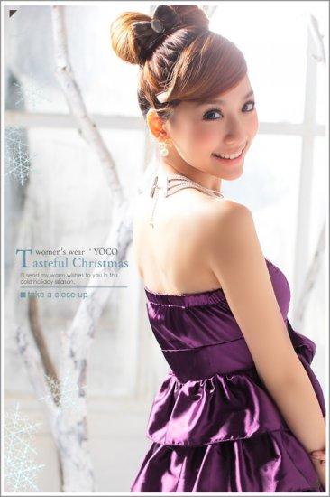 [W0032]Elegant Purple Satin Prom Dress  裹��礼�--紫�