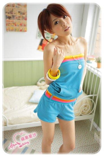 [W0051] Korean Style 1-piece Tube Top Bottom - Blue �������身裤���