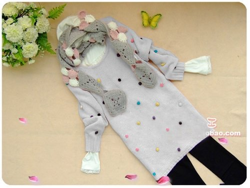 [W0052] Cute Furly Dots Jumper/Sweater - Light Grey ��款��������--���