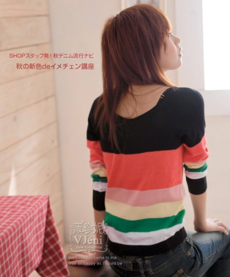 [W0047] Gorgeous Colorful 2-sided Blouse - Black ��彩���两�穿��衫���