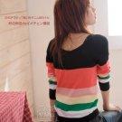[W0047] Gorgeous Colorful 2-sided Blouse - Black 韩版彩条珠扣两面穿针织衫—黑色