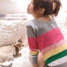 [W0047] Gorgeous Colorful 2-sided Blouse - Grey 韩版彩条珠扣两面穿针织衫—灰色