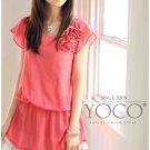 [W0036] Gorgeous Chiffon Blouse - Orange 韩版可爱上衣--橙色