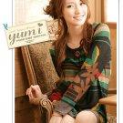 [W0043] Trendy Flora Print Tunic Dress 韩国绒印花洋装
