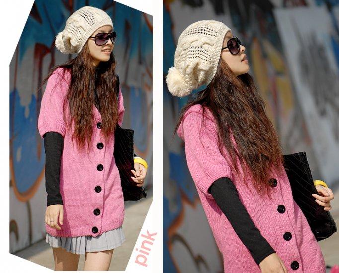 [W0044] Trendy Pink Long Cardigan/blouse ���衫�衣--��