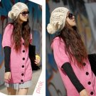 [W0044] Trendy Pink Long Cardigan/blouse 时尚开衫毛衣--粉色