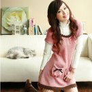 [W0001] Cute Pink Baby Doll Dress  超可爱花边白搭短袖洋裙--粉色