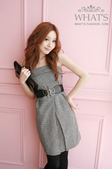 [W0008] Gorgeous Checked Evening Dress  ��格平���