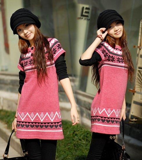 [W0009] Trendy Peachy Pink Sweater Dress/Blouse  ���衣��红�