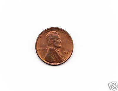 1937 Wheat Penny AU-BU         cent coin