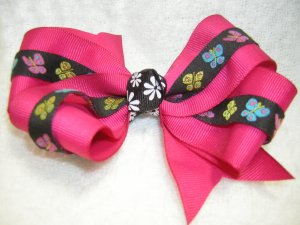 Handmade Hair Ribbon Bow Magenta Black Butterfly Trim
