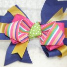 Handmade Hair Ribbon Bow Royal Blue Gold Pink Trim