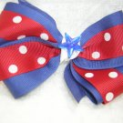 Handmade Hair Ribbon Bow Red White Blue
