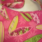Lined Cloth Purse Shoulder Strap Pink Surfboards (HC23)