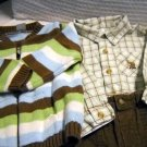 Carters Pants, Long Sleeve Shirt and Sweater Set 100% Cotton Boys 12 Months (HC25)