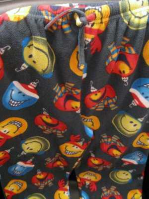 Unisex Holiday Smiley Face Pajama Bottoms Size 10-12 by Up-Late (HC25)