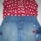 Old Navy™ Denim Skirt and Hearts Sweater Set 100% (HC19) Cotton Size 0-3 Months