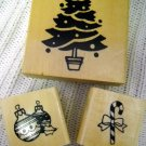 Wood Rubber Stamp Christmas Tree, Candy Cane and Ornament Holiday Set