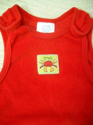 Crab Terry Cloth Summer Romper Size 3/6 Months (HC25)