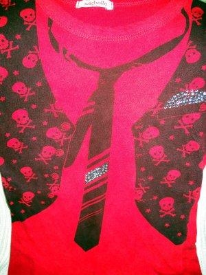 Girls Novelty Skull Crossbones Tee Size Medium (HC19)