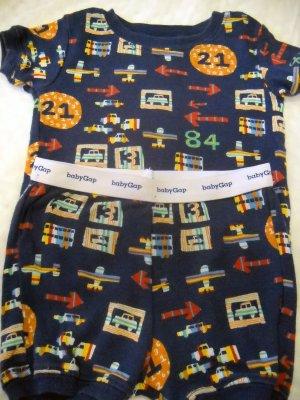 Baby Gap 2PC BOYS Pajama 100% Cotton Navy with Transportation Theme Size XS(HC)