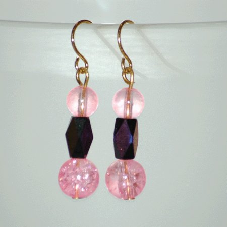Pink Cracked Glass Purple Faceted Reflecting Bead Drop Earrings Handcrafted Gold Tone  LKJ