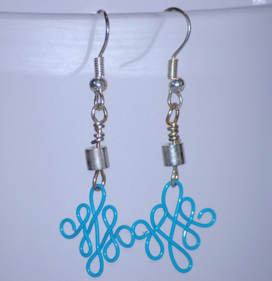 Aqua Blue Twisted Wire and Silver Tone Bead Drop Earrings Handcrafted Silver Tone LKJ