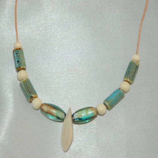 Blue Green Pottery Wood and Glass Beads Handcrafted Earring Necklace Set LKJ